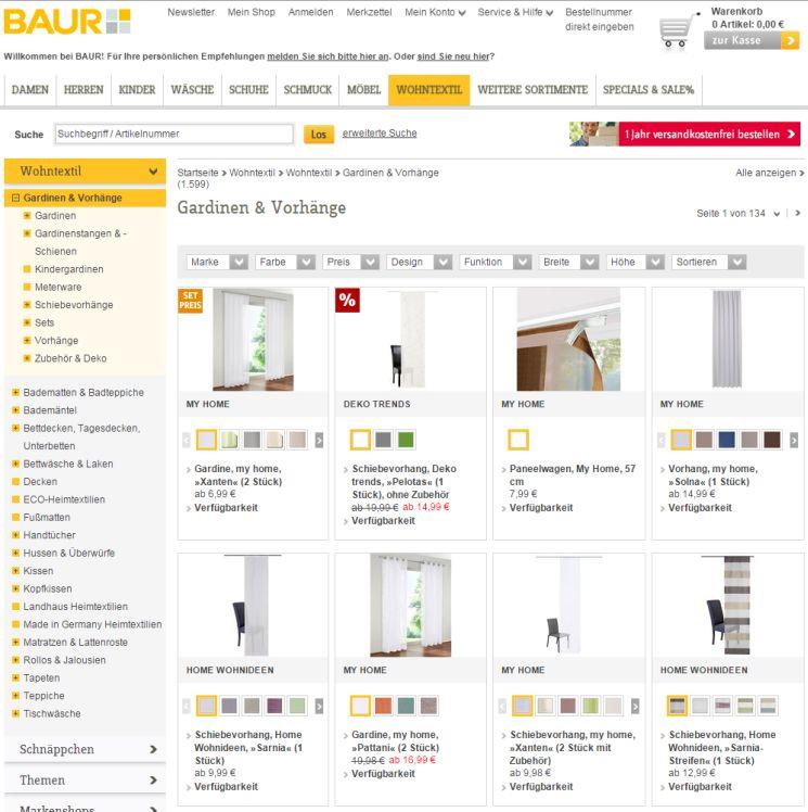 www baur de gardinen. Black Bedroom Furniture Sets. Home Design Ideas