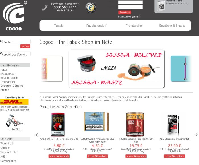 wo tabak auf rechnung online kaufen bestellen. Black Bedroom Furniture Sets. Home Design Ideas