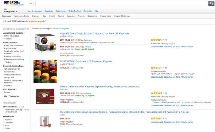 wo nespresso kapseln auf rechnung online kaufen bestellen. Black Bedroom Furniture Sets. Home Design Ideas