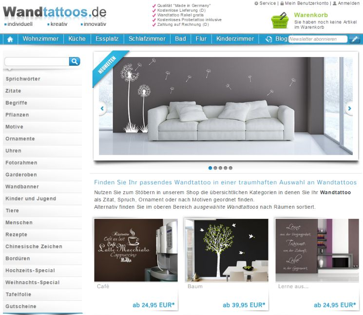 wo wandtattoo auf rechnung online kaufen bestellen. Black Bedroom Furniture Sets. Home Design Ideas